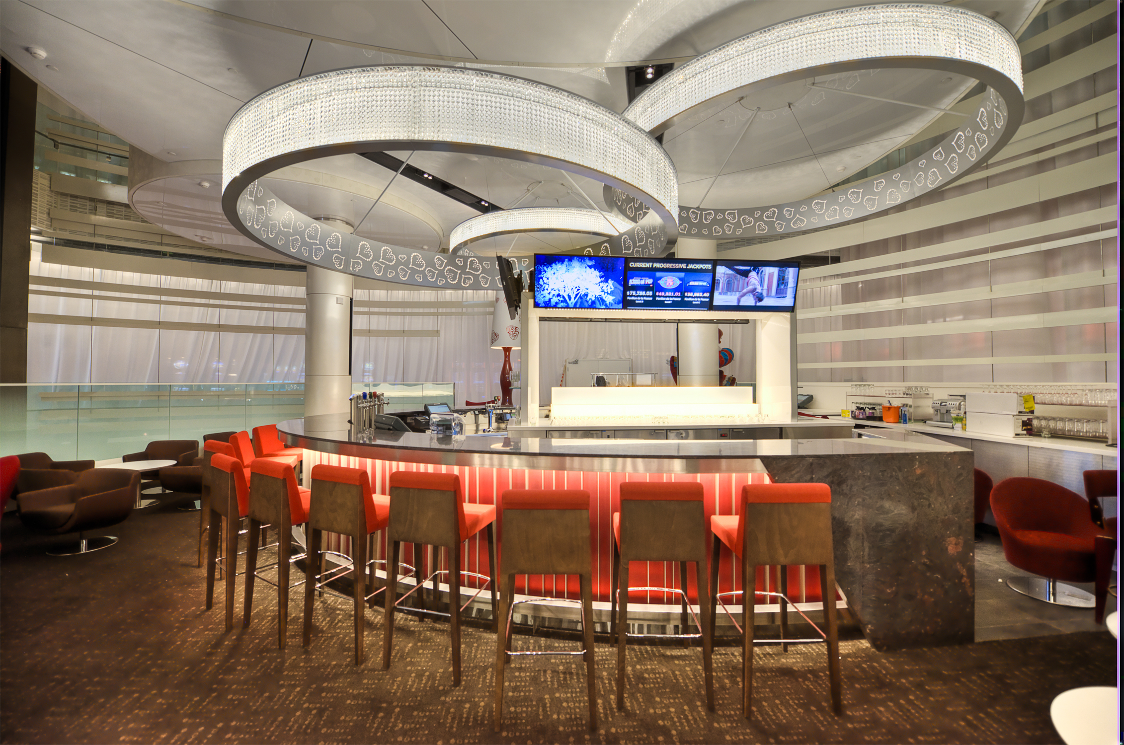 A bar at the newly refurbished Montreal Casino.  Photo courtesy of Montreal Casino
